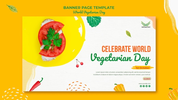 World vegetarian day banner template