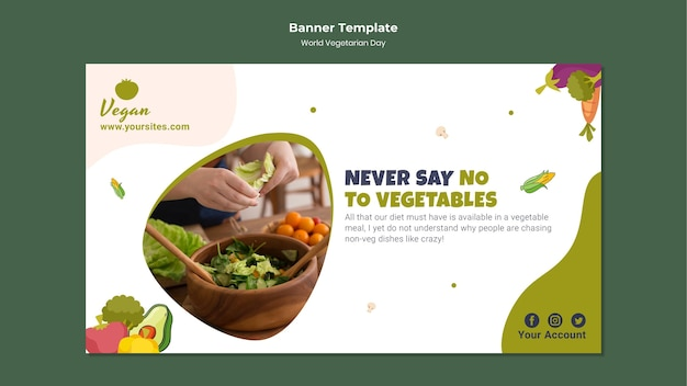 Шаблон баннера всемирного вегетарианского дня