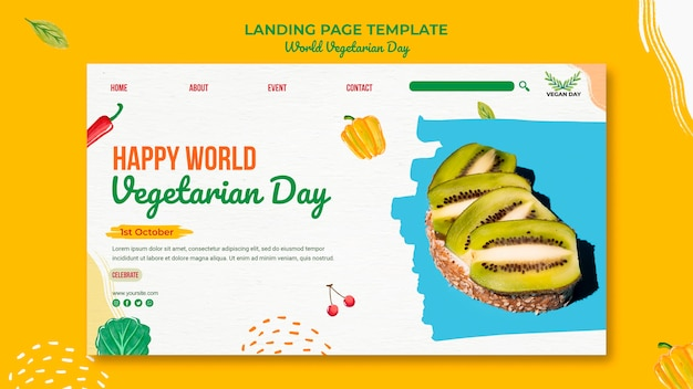 World vegetarian day web template