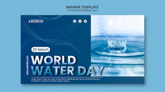 World water day banner template with photo
