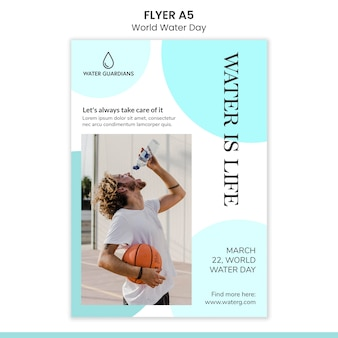 World water day concept flyer template