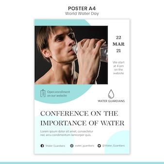 Modello del manifesto di concetto di giornata mondiale dell'acqua