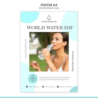 Шаблон плаката концепции всемирного дня воды