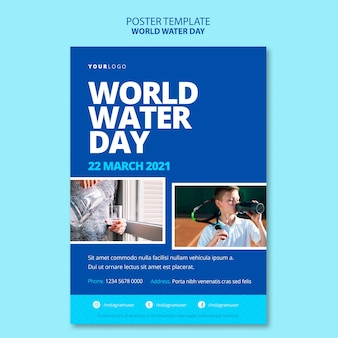 Шаблон плаката всемирного дня воды