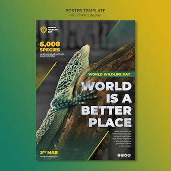 World wild life day flyer template