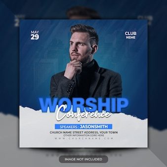 Worship conference church flyer premium psd