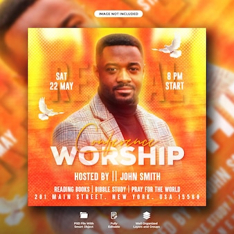 Worship conference flyer and social media post template