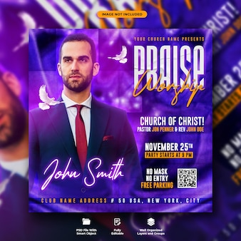 Worship conference flyer and social media web banner template