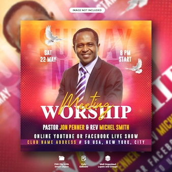 Worship meeting flyer social media instagram post template