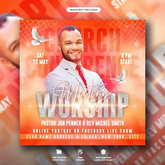 Worship meeting flyer and social media post web banner template