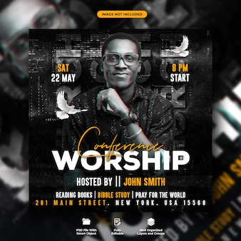 Worship night conference flyer and social media banner template