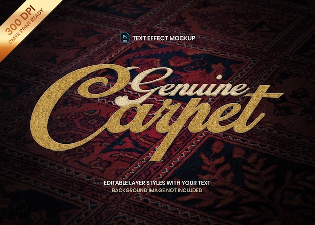 Woven wool carpet and rug fabric material logo text effect psd template.