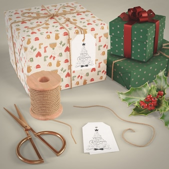 Wrapped gift collection on table
