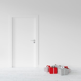 Wrapped presents by a door