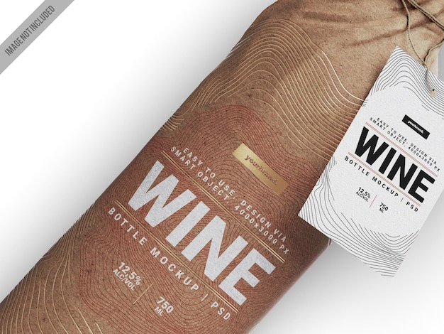 Wrapped wine bottle mockup template