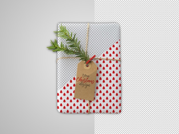 Wrapping paper mockup with fir branch