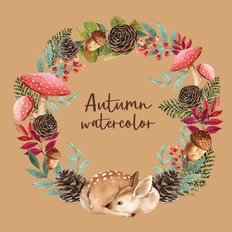 Wreath with autumn theme card