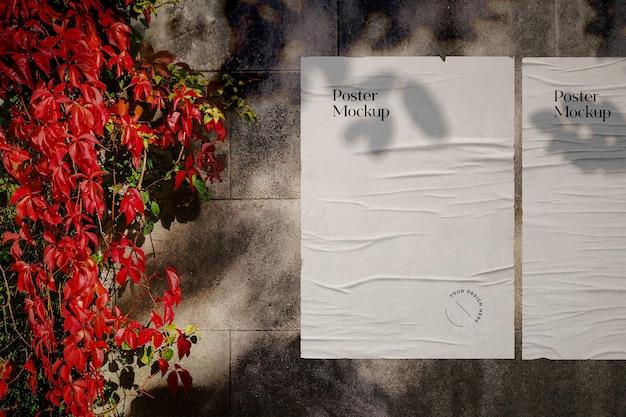 Wrinkled poster mockup scene