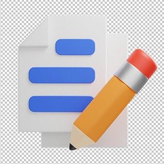 Write document icon 3d illustration