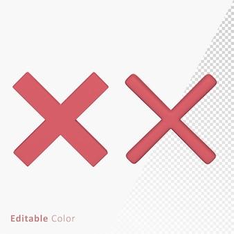 Wrong cross mark 3d symbol premium psd