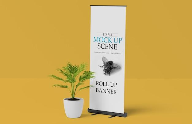X-bannerまたはroll upスタンドモックアップ