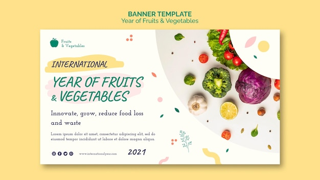 Year of fruits and vegetables banner template