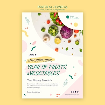 Anno di modello di volantino di frutta e verdura