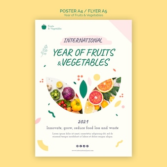 Year of fruits and vegetables flyer template