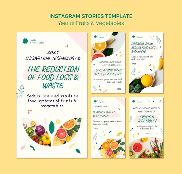 Year of fruits and vegetables social media stories collection