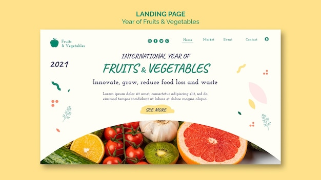 果物と野菜の年のwebテンプレート