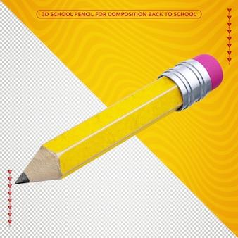 Желтый 3d карандаш летит для композиции обратно в школу