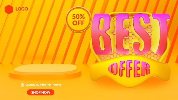 할인 판매 제품 광고를 위한 노란색 3d 현실적인 연단