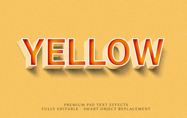 Yellow 3d text style effect psd