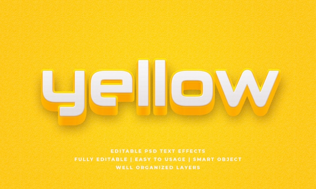 Yellow 3d text style effect