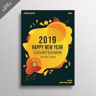 Yellow abstract style new year flyer design template