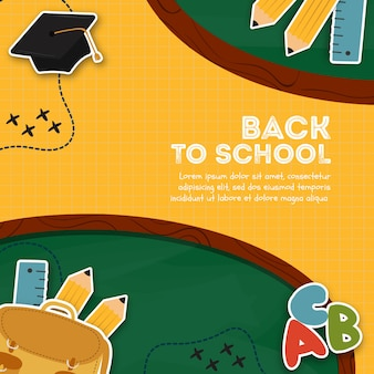 Yellow back to school poster template