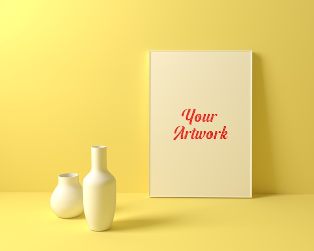 Yellow background poster frame mockup