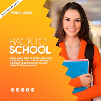 Yellow banner social media back to school