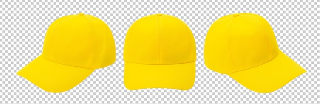 Yellow baseball cap mockup isolated