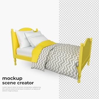 装飾モックアップをレンダリングする際の黄色いベッド
