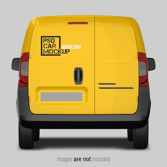 Yellow and black delivery van mockup