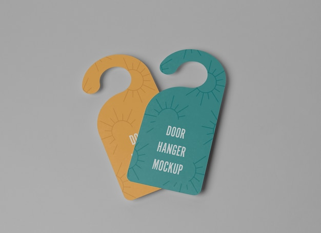Yellow and blue door hangers for privacy