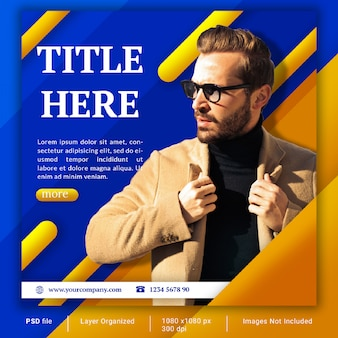Yellow and blue fashion social media banner template psd