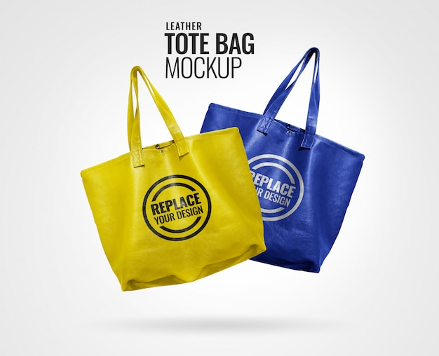 Yellow and blue tote bag mockup