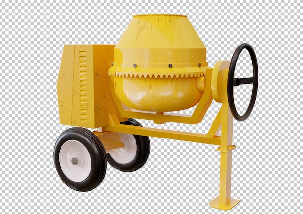 Желтый бетон, изолированный дизайн бетономешалки