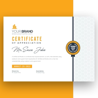 Желтый шаблон корпоративного сертификата