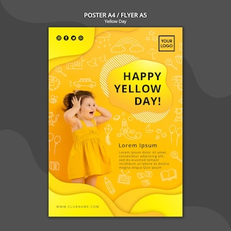 Желтый день концепция флаер шаблон