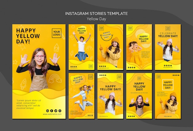 Yellow day concept instagram stories template