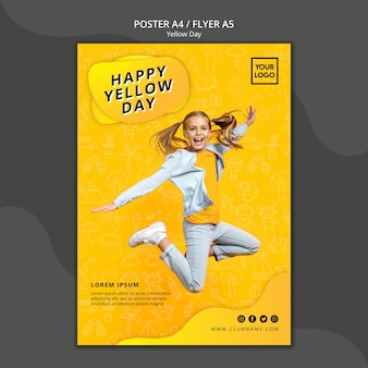 Yellow day concept poster template