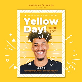 Желтый день флаер шаблон